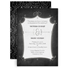 Regal Whimsy Silver Foil Wedding Invitation