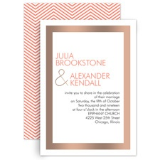 Truly Modern Rose Gold Foil Wedding Invitation