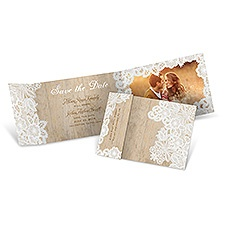 Wood and Lace - Fold Up Save the Date