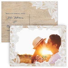 Photo and Lace - Save the Date Postcard