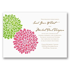 It Takes Two ( Pink and Green) Wedding Invitation