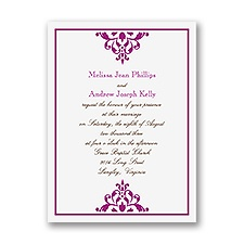 Damask Accents Petite Purple Wedding Invitation