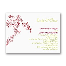 Sweet Cherry Blossoms Petite Wedding Invitation