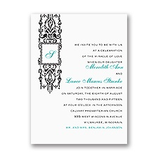 Ornate Monogram Petite Wedding Invitation