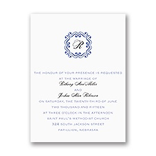 Framed Monogram Petite Purple Wedding Invitation