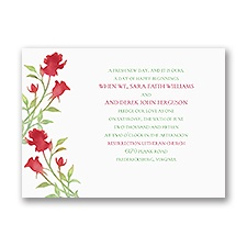 Watercolor Rosebuds Merlot Petite Red Wedding Invitation