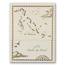 Bahamas Treasure Map Ecru Z-Fold - Invitation