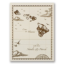 Hawaii Treasure Map Ecru Z-Fold - Inv