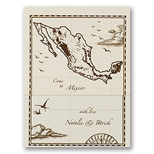 Mexico Treasure Map Ecru Z-fold - Inv