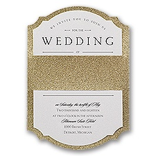 Sparkling Beauty Gold Real Glitter Wedding Invitation