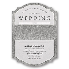 Sparkling Beauty Silver Real Glitter Wedding Invitation