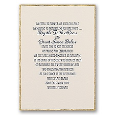 Gold Trim Thermography Wedding Invitation