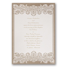Feather Filigree Brown Wedding Invitation