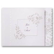 Flowery Scallops White Wedding Invitation