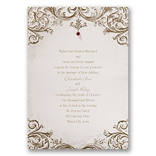 Sepia Filigree Brown Wedding Invitation