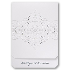 Glamorous Sparkle White Wedding Invitation
