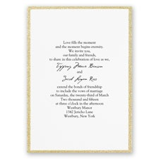Framed in Glitter Gold Thermography Wedding Invitation