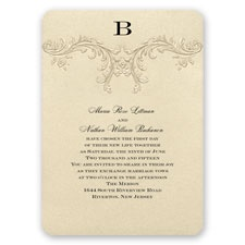 Golden Vintage Wedding Invitation