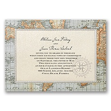 Antique World Map - Invitation