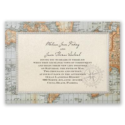 Antique World Map Wedding Invitation