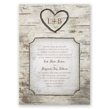 Birch Tree Carvings Thermography Wedding Invitation