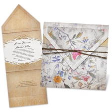 Antique Floral Thermography Wedding Invitation