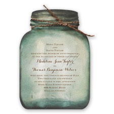 Country Canning Jar Thermography Wedding Invitation