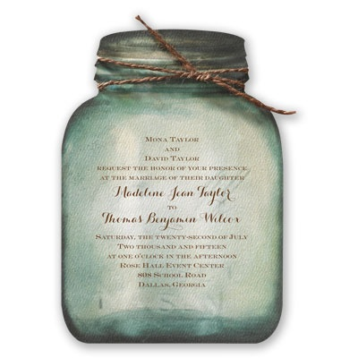 country canning jar wedding invitation - watercolor ...