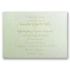 Effortless Beauty Pistachio Shimmer Foil Wedding Invitation