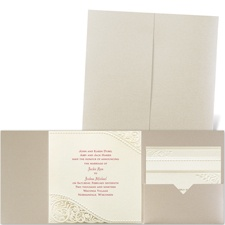 Pearls and Lace Gold Shimmer Pocket Laser Cut Wedding Invitation