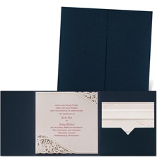 Pearls and Lace Navy Pocket Laser Cut Blue Wedding Invitation