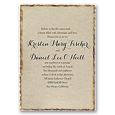 Burned Edges Brown Wedding Invitation