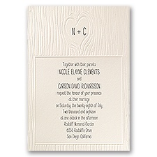 Heartfelt Ecru Wedding Invitation