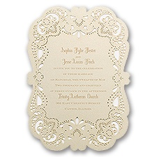 Opulent Lace Laser Cut Vintage Wedding Invitation
