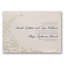 Ferns of Gold Wedding Invitation