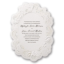 Flowers and Filigree Laser Cut Vintage Wedding Invitation
