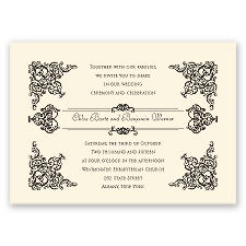 Vintage Vision Ecru Vintage Wedding Invitation