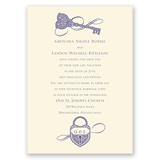 Lock and Key Ecru Wedding Invitation