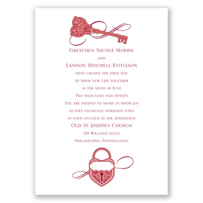 Lock and key wedding invitation vintage heart at for Cheap thermography wedding invitations