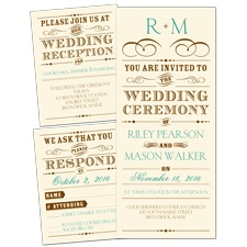 Vintage Type Ecru 3 for 1 Wedding Invitation