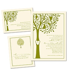 Tree of Love Ecru 3 for 1 Rustic Wedding Invitation