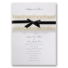Eyelet Band White Wedding Invitation