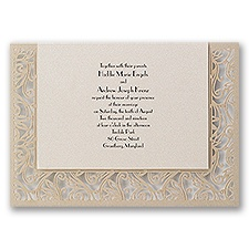 Total Intrigue Gold Shimmer Laser Cut Wedding Invitation