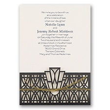 Art Deco Adoration Ecru Laser Cut Wedding Invitation