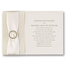 Shimmering Sash Vintage Wedding Invitation