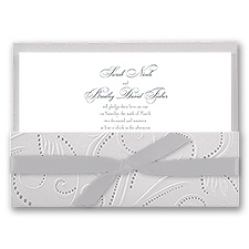 Silver Pearls Wedding Invitation