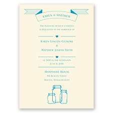 Vintage Jars Ecru Wedding Invitation