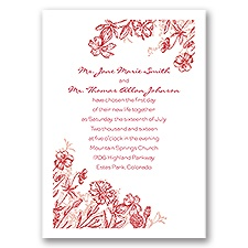 Rustic Wildflowers Red Wedding Invitation