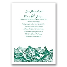 Watercolor Mountain Wedding Invitation