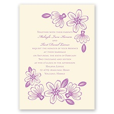 Modern Cherry Blossoms - Ecru - Invitation